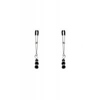 Тонкие зажимы для сосков с подвеской Feral Feelings - Thin nipple clamps, серебро/черный