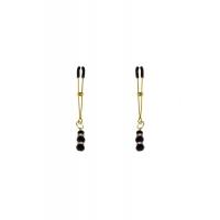 Тонкие зажимы для сосков с подвеской Feral Feelings - Thin nipple clamps, золото/черный