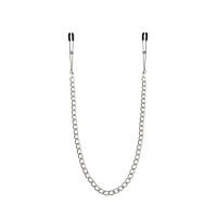 Тонкие зажимы для сосков с цепочкой Feral Feelings - Chain Thin nipple clamps, серебро/черный